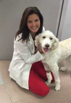 We wanted to share this adorable picture of Pompey, an 11-month-old Labradoodle diagnosed with an Intrahepatic Portosystemic Shunt (IHPSS). Dr. Michelle Fabiani and Pompey were all smiles before he went back to Louisiana. We are so happy to see how well Pompey is doing after his procedure and we wish him nothing but the best! #GCVS #weloveourpatients #labradoodle