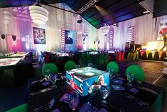 For a tailgate-party-theme bar mitzvah, Sara Renee Lowell of Sara Renee Events in South Florida and lighting company Designs by Sean created sleek cube-shaped photo centerpieces that were illuminated from within. Tailgate Bar, Tailgating, Photo Centerpieces, New Years Eve 2018, Photo Cubes, Experiential Marketing, Bar Mitzvah, Event Design, South Florida