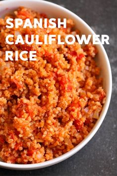 A quick and easy side dish that is chuck full of veggies, but doesn't taste like it? Sign us up. Our Spanish Cauliflower rice is the perfect low-carb compliment to any Spanish main dish. Keto Side Dishes, Veggie Dishes, Side Dishes Easy, Side Dish Recipes, Vegetable Recipes, Low Carb Recipes, Diet Recipes, Vegetarian Recipes, Cooking Recipes