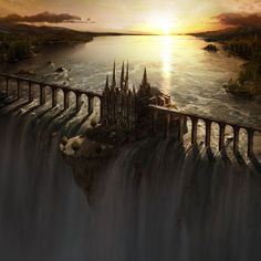 Waterfall Castle matte art by fstarno (print image)