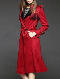 NEW Womena Ladies STYLEWE NEXIIA Paneled fringed Trench coat Jackt Hipster RED M