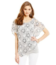 Democracy Short-Sleeve Lace Popover Top