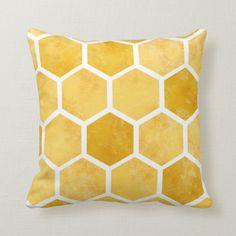 Shop Yellow hexagon honeycomb bee pillow created by byRaluk. Yellow Room Decor, Yellow Nursery, Yellow Rooms, Bedroom Yellow, Yellow Bedroom Accessories, Yellow Bedroom Furniture, Yellow Theme, Bedroom Themes, Bedroom Decor