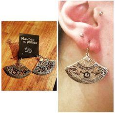 Bronze floral fan earrings, made in Thailand. $26.
