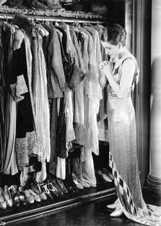 silentmovies:  Norma Shearer giving thanks for her amazing wardrobe collection in A Slave to Fashion, 1925