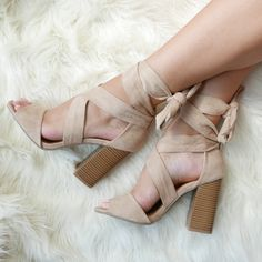 Channel major star power in these super hot, lace-up heels. #heels #laceup #nude…