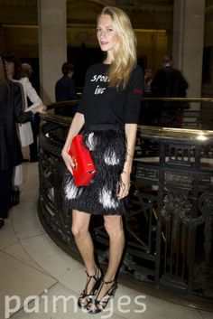 Poppy Delevingne before the Matthew Williamson catwalk show at Great George Street, London, during London Fashion Week.