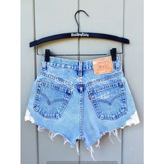 Levi High Waisted Shorts With Lace Patch Distressed Sizes 0 2 4 6 8 10... ($30) ❤ liked on Polyvore featuring shorts, black, women's clothing, ripped denim shorts, high-waisted denim shorts, high-waisted shorts, ripped jean shorts and vintage high waisted shorts