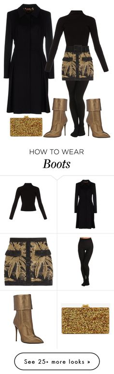 """Escada coat x Balmain skirt x black tights x Haider A top x Giuseppe Zanotti boots x gold bling clutch"" by le-lola on Polyvore featuring moda, SPANX, ESCADA, Haider Ackermann, Balmain, Giuseppe Zanotti e Edie Parker"
