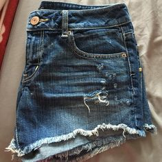 Size 8 American eagle shorts! Denim American eagle shorts! Never worn just don't have tags :( American Eagle Outfitters Shorts Jean Shorts