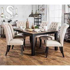 Furniture of America Sheila Rustic Two-tone Dining Table - Black (Weathered Elm) Kitchen Dining Sets, 7 Piece Dining Set, Dining Room Sets, Dining Room Design, Dining Room Table, Kitchen Tables, Rustic Kitchen, Kitchen Ideas, Rustic Table