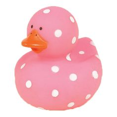 1.22 small pink polka dot rubber ducky (1) (for dec or tiny favors?) (for duck race?)