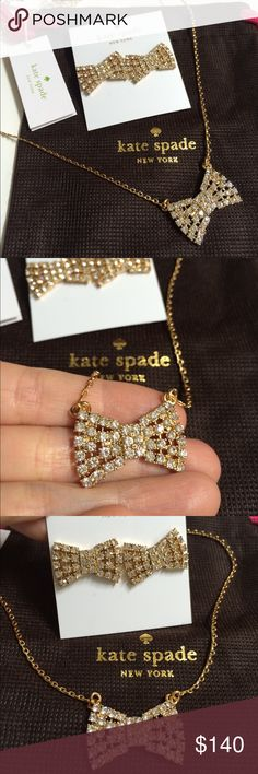 Kate Spade Pave Bow Necklace + Matching Earrings Brand new with tags! kate spade Jewelry