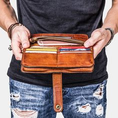Cool Leather Mens Long Wallets Vintage Brown Bifold Long Wallets for M Card Wallet, Clutch Wallet, Card Case, Leather Clutch, Leather Men, Passport Wallet, Vintage Cards, Card Holder, Long Wallet Men