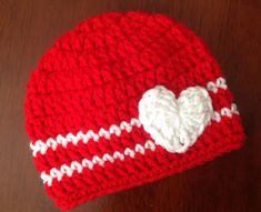 Valentine's Day Crochet Hat Heart Beanie Girl or Boy Valentine Hat Red and White Hat baby Valentines Crochet Hat by Chinguliscreations on Etsy https://www.etsy.com/listing/174219096/valentines-day-crochet-hat-heart-beanie