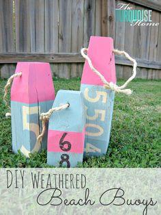 DIY Weathered Wood Beach Buoys, Pottery Barn inspired, summer decor