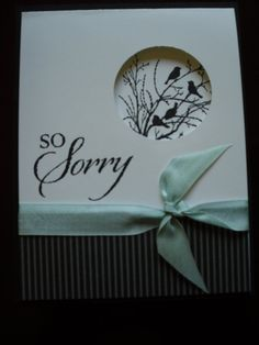 "Cardmarker unknown. Uses stamp from ""Serene Silhouettes"" by Stampin' Up and a circle die to cut the window."