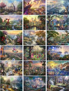Thomas Kinkade Complete Disney Canvas Wrap Set by TheGraphicMan Disney Pixar, Arte Disney, Disney And Dreamworks, Disney Love, Disney Magic, Disney Characters, Thomas Kinkade Art, Thomas Kinkade Disney Paintings, Kinkade Paintings