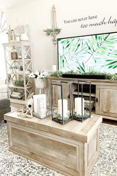 Crossmill Coffee Table via Instagram user ourhavenfarmhouse. #coffeetable #weathered #rustic #slideouttop #livingroom #familyroom #den