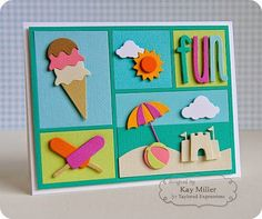 Blog Design Team: Summer Fun! CARD Kay's Notes: When I first saw the Color Block Cutting Plate, it was love at first sight. I adore anything on a grid, with squares, or geometric designs. I could just imagine all the fun I would have die cutting all those little blocks with different colors and putting cute little dies in each square!