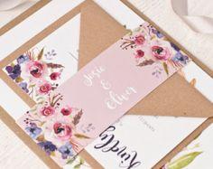 Peony Rustic Floral Design Laser Cut Wedding Invitation Sample