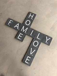 I love these giant scrabble tiles! You could spell out everyone's names, last name, family values. So many great ideas! #farmhouse #ad #scrabble #giantscrabble #homedecor #giftideas Giant Scrabble Tile Free shipping Wall art wooden signs