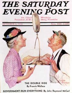 Norman Rockwell -so typical of wartime shopping when the grocer tipped the scales in his favour!