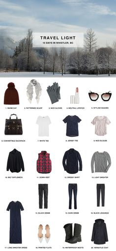 1. Warm Cap / 2. Patterned Scarf (similar) / 3. Nice Gloves / 4. Neutral Lipstick / 5. Stylish Shades / 6. Convertible Backpack / 7. White Tee / 8. Jersey Tee / 9. Nice Blouse / 10. Big Turtleneck / 1
