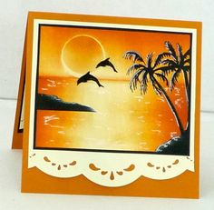 Dolphins at Sunset by breadbaker - Cards and Paper Crafts at Splitcoaststampers