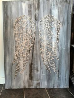 String Art Angel with wings on wood