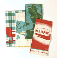 Tea towels with a vintage camping theme