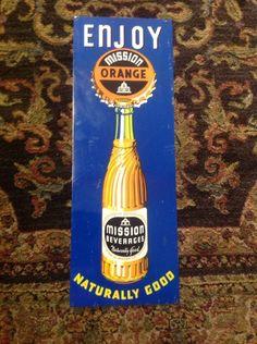 """Vintage 1950's Mission Orange Soda Pop Bottle 25"""" Metal Sign Drink Garage Barn   eBay"""
