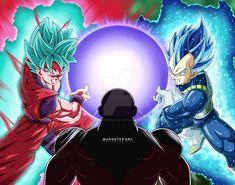 Goku Super Saiyajin Blue Kaioken ×20 y Vegueta Super Saiyajin Blue Evolution vs Jiren