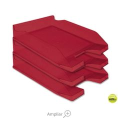 BANDEJA SOBREMESA PLASTICO Q-CONNECT ROJO TRANSPARENTE Container, Dessert Tray, See Through, Trays, Red, Canisters