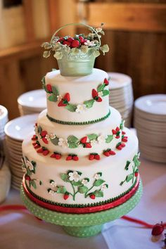 Summer Wedding Cakes | summer-wedding-ideas-strawberry-fields-summer-wedding-13-choco-studio ...