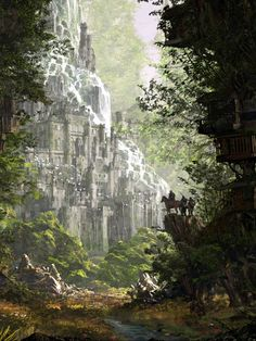 Fantasy Art Watch — Forest by Min Gyu Lee Electric Island High Fantasy, Fantasy Forest, Fantasy City, Fantasy Castle, Fantasy Places, Fantasy Rpg, Medieval Fantasy, Fantasy Artwork, Fantasy World