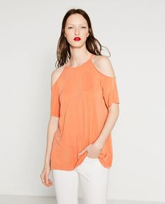 Image 2 of T-SHIRT WITH CUT-OUT SHOULDERS from Zara