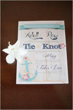 "What a pretty wedding invitation! I adore the saying ""tie the knot"" and the colors are so perfect.  Laura Matthews Photography as seen on Hill City Bride"
