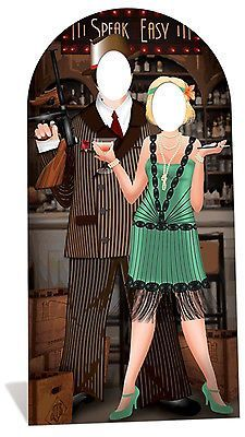 Roaring 20 s Couple - Hollywood - Stand In - Lifesize Cardboard Cutout 1920s Speakeasy, Speakeasy Party, Gatsby Themed Party, 1920s Party, Great Gatsby Party, Nye Party, Gatsby Wedding, Speakeasy Decor, Roaring 20s Wedding