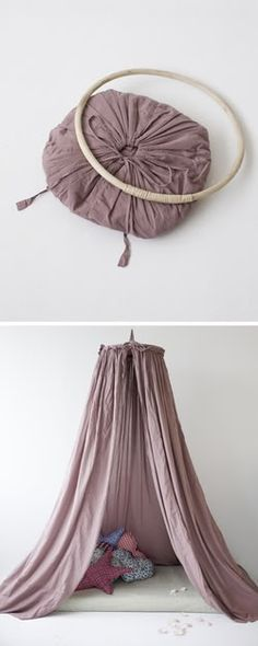 diy hideout circular canopy - hang above crib, bed, or just a nice spot with pillows on the floor.  May do this in playroom! Kids love forts. Cute idea even for Sunday School if you need a tent.