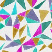 triangle FACETS - pink, veronese, mustard, ink wallpaper by ravynka for sale on Spoonflower - custom wallpaper