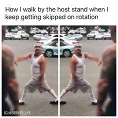 🤣🤣 I'm open🙋♂️ . . . . . #serverlife #servermemes #serverproblems #iserv #iserverlife #lifeofaserver #lifeasaserver #servers #waiter #waitress #bartender #cook #manager #host #busser #restaurant #restaurantlife #funny #haha #lol #lmao #love #hate #followme #memes #happy #sunday Server Memes, Server Humor, Restaurant Memes, Server Problems, Server Life, Walking By, Haha, Funny, Instagram Posts