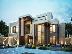 VILLA-33 on Behance Modern Small House Design, Modern Exterior House Designs, Cool House Designs, Exterior Design, Exterior Colors, House Arch Design, House Outside Design, Classic House Exterior, Dream House Exterior