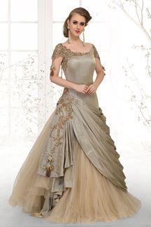 Picture of Splendid olive green designer long gown
