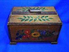 Antique German Wooden Box Flower Motive Spring #A