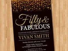 50th birthday invitation for women. Fifty and fabulous. Golden 50. Gold Glitter Glam Birthday Invite.Any age. Printable digital DIY. by arthomer on Etsy https://www.etsy.com/listing/199399307/50th-birthday-invitation-for-women-fifty