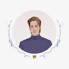 Exo Kai, Baekhyun, Kaisoo, Exo Stickers, Exo Anime, Exo Merch, Exo Fan Art, Exo Korean, Sketch Painting