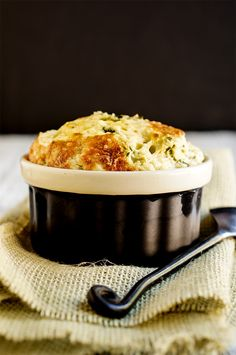 Leeks and feta cheese souffle - light and airy this souffle tastes like cheesy clouds, and caramelized leeks, and it's easier to make than you think. | www.viktoriastable.com