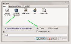 """7-- Console Application ve C Projesi seçeneğine tıklayın ve projeye bir isim verin. """"Tamam"""" dedikten sonra projenizi kaydetmek istediğiniz yeri belirleyin."""