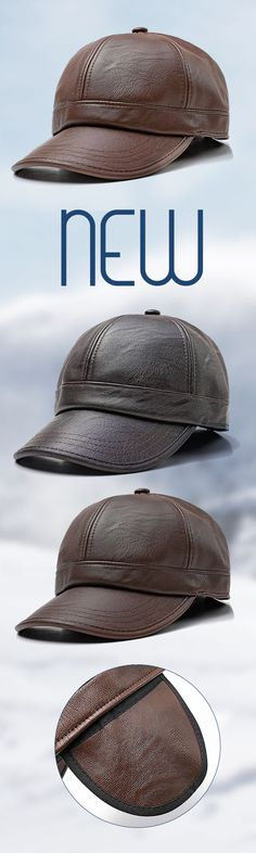 a7da282c49e Free Shipping New Fashion Men Women Earmuffs Artificial Leather Baseball Cap  Outdoor Adjustable Dad Peaked Hat -